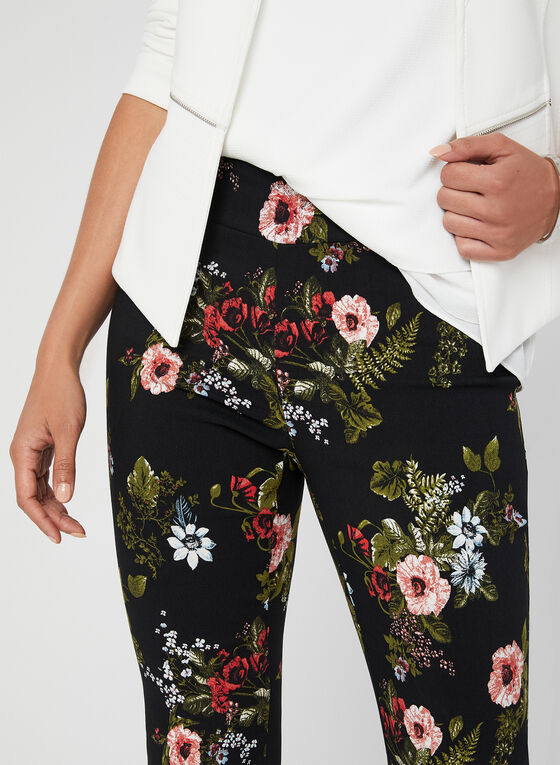 Bengaline Floral Pull-On Pants, Black, hi-res
