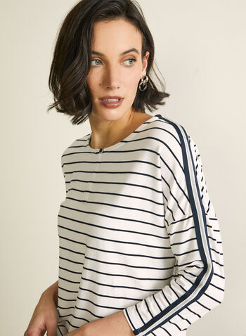 ¾ Sleeve Stripe Print T-Shirt, White,  t-shirt, top, stripe print, stripe top, spring 2020, summer 2020