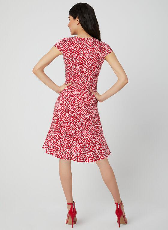 Robe fleurie style enveloppe, Rouge