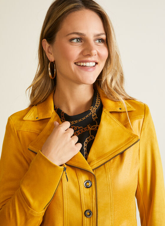 Faux Suede Jacket, Yellow