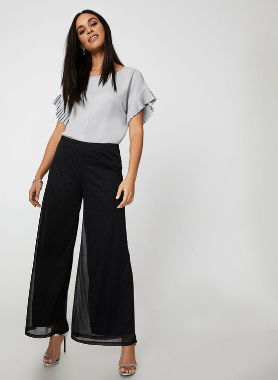 Glitter Mesh Wide Leg Pants, Black