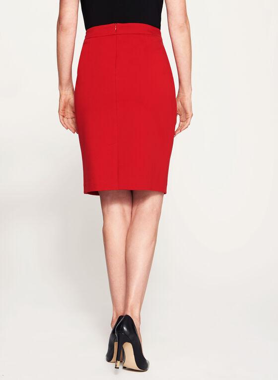 Zipper Trim Pencil Skirt, Red, hi-res