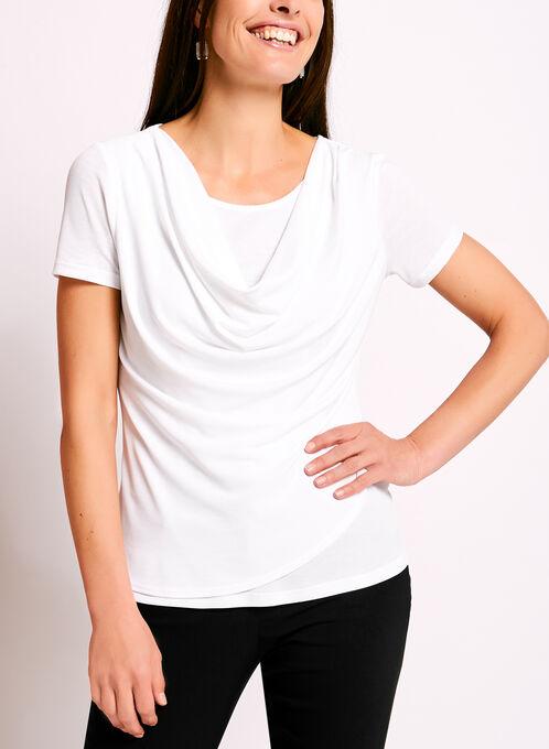 Haut en fin tricot avec drapé avant, Blanc, hi-res