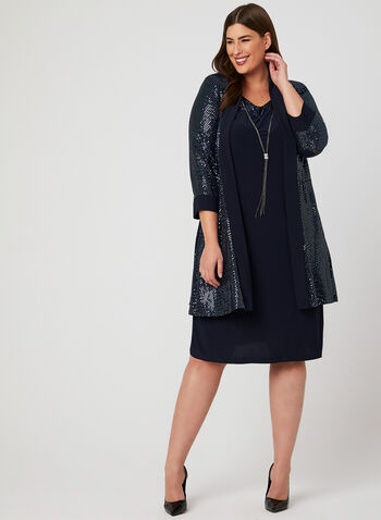 Sequin Jersey Dress With Jacket, Blue, hi-res