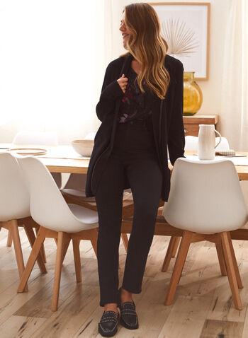 Cardigan mi-long avec détail chaîne, Noir,  automne 2021, haut, cardigan, pull, coupe mi-longue, ouvert à l'avant, détail, chaîne, ton sur ton, manches longues, col châle, tricot, confortable