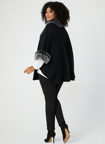 Faux Fur Trim Ruana Poncho, Black, hi-res