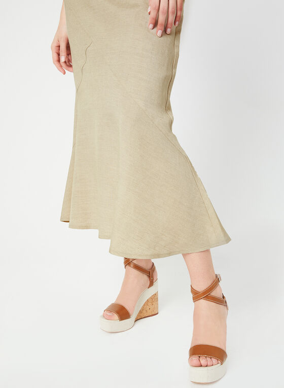 Linen-Blend Skirt, Off White