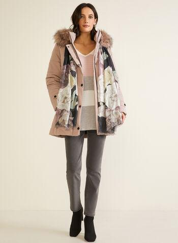 Quilted Vegan Down Coat, Pink,  fall winter 2020, coat, winter coat, down, hood, faux fur, pockets, quilted, iridescent, vegan, pockets, holiday