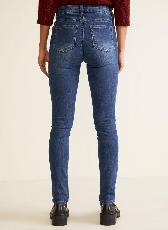 Jeans jambe étroite à cristaux, Bleu