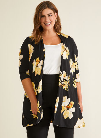 Floral Print Open Front Top, Black,  top, open front, 3/4 sleeves, floral, spring summer 2020