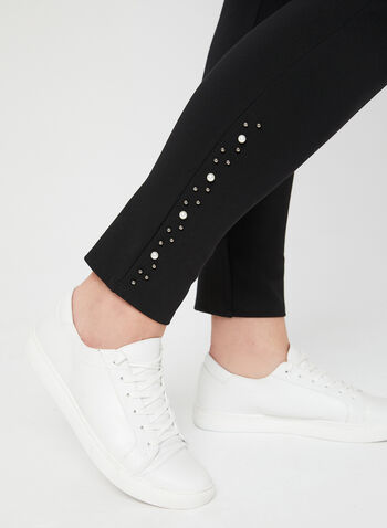 Pearl Detail Leggings, Black,