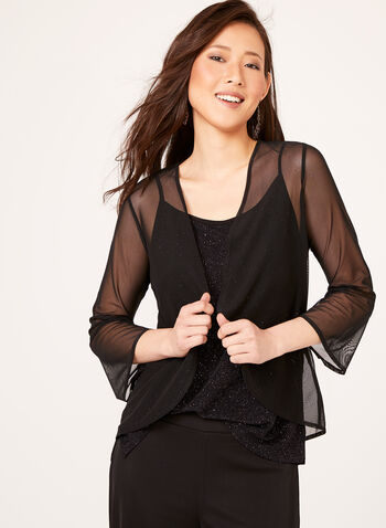 3/4 Bell Sleeve Mesh Cardigan , Black, hi-res