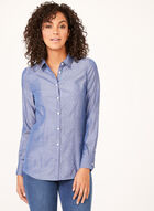 Long Sleeve Dot Print Shirt, Blue, hi-res
