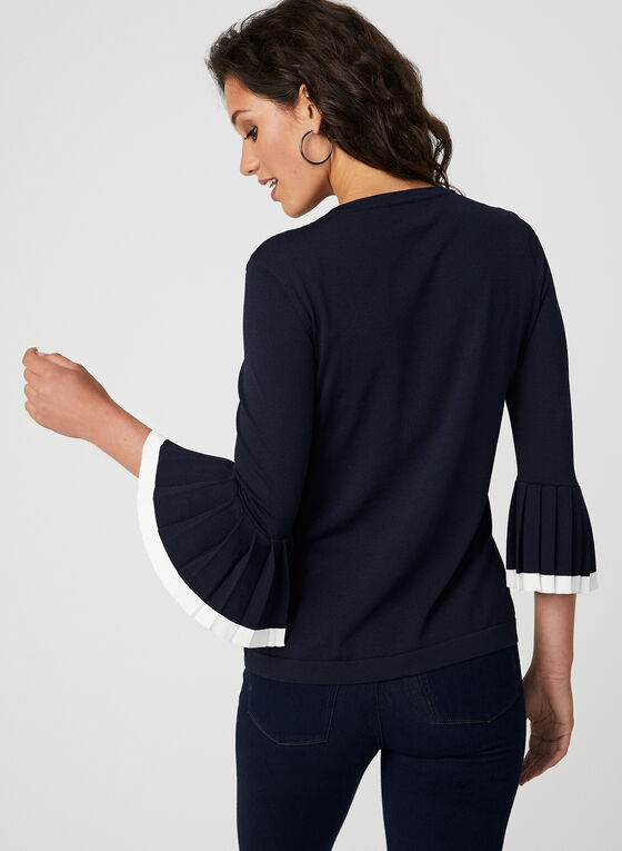 Pleated Bell Sleeve Sweater, Blue, hi-res