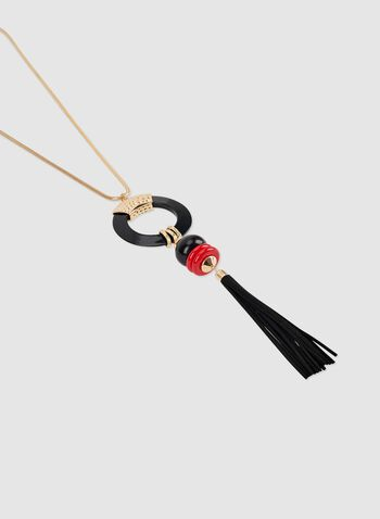 Long Pendant Necklace, Red, hi-res