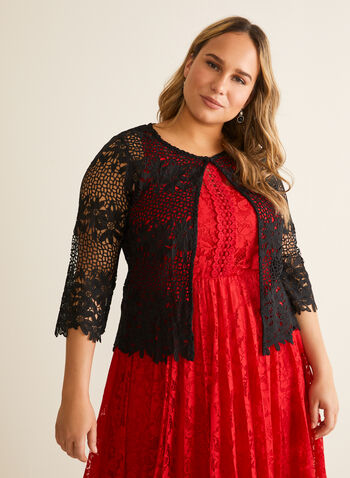 Crochet Effect Lace Top, Black,  spring summer 2020, 3/4 sleeve, open front, crochet, lace