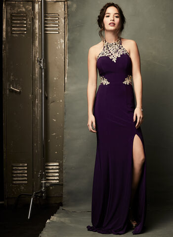 Beaded Cleo Neck Gown, Purple, hi-res