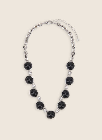 Resin & Crystal Necklace, Black,  necklace, resin necklace, chain necklace, crystals, spring 2020, summer 2020