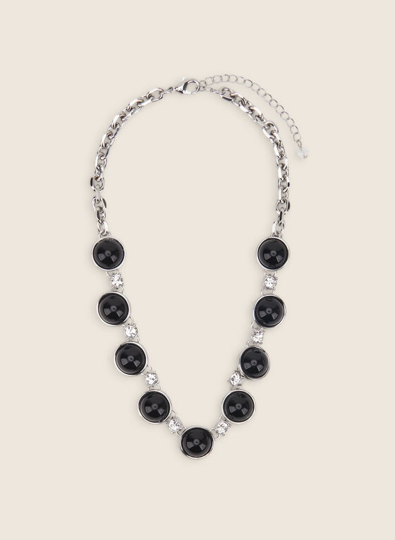 Resin & Crystal Necklace, Black