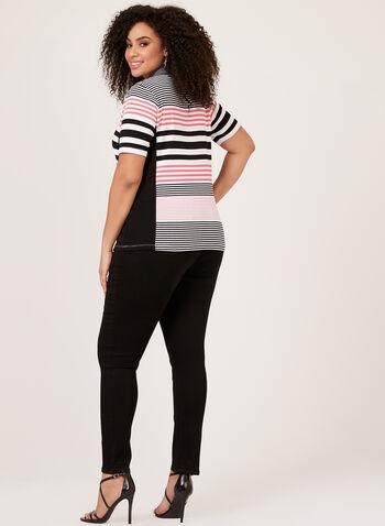 T-shirt rayé à manches courtes en coton, Noir, hi-res