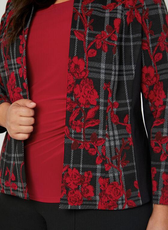 Veste en jacquard motif fleurs et tartan, Noir, hi-res