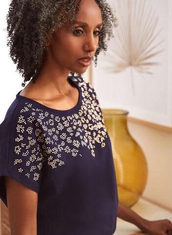 T-shirt à détails de cristaux, Bleu,  haut, t-shirt, encolure arrondie, manches courtes, épaules tombantes, détail, cristaux, ourlet arrondi, coton extensible, automne 2021