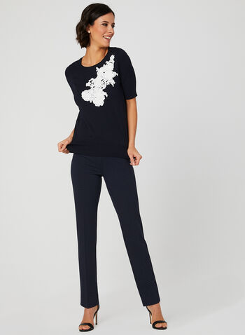 Floral Appliqués Knit Top, Blue,