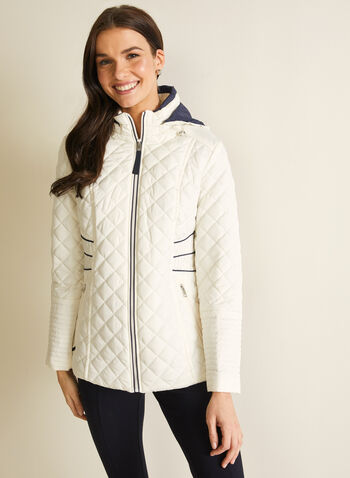 Novelti - Contrast Detail Quilted Coat, Grey,  coat, quilted, down, hood, reflective, contrast, spring summer 2020