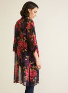 Floral Print Open Front Blouse, Black