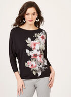 ¾ Batwing Sleeve Jersey Top, Black, hi-res