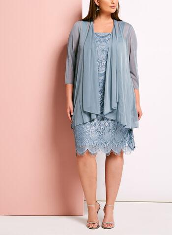 Lace Satin Dress with Mesh Bolero, , hi-res