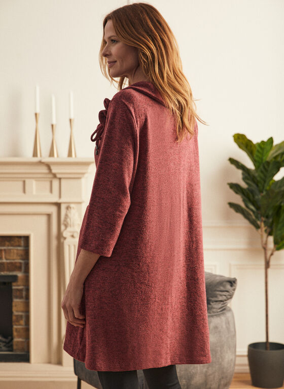 Cowl Neck Sweater Knit Tunic, Red