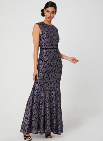 Glitter Lace Mermaid Dress, Purple,  evening gown, lace, short sleeves, extended sleeves, fall 2019, winter 2019