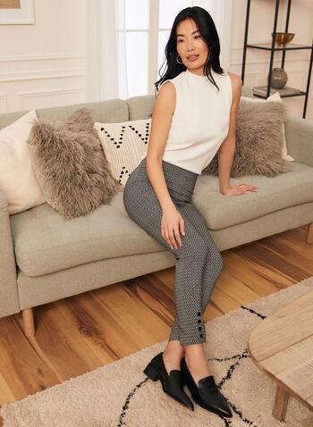Pantalon coupe cité à motif contrastant, Noir,  printemps été 2020, pantalon, coupe cité, motif, boutons, bengaline, jambe étroite, pull-on, taille élastique