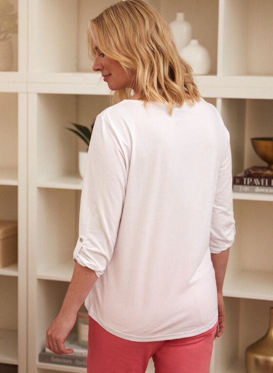 3/4 Sleeve Embroidered Top, White