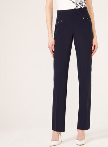 Grommet Detail Modern Fit Straight Leg Pants, Blue, hi-res