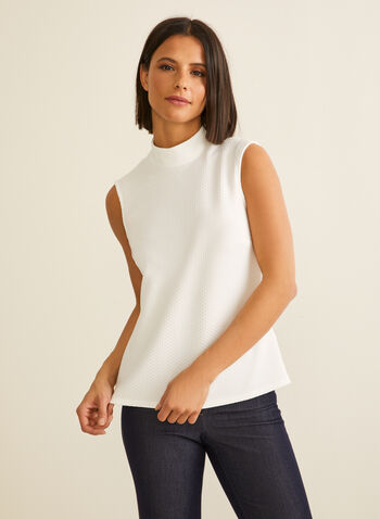 Waffle Knit Sleeveless Top, Off White,  spring summer 2020, waffle fabric, sleeveless, mock neck