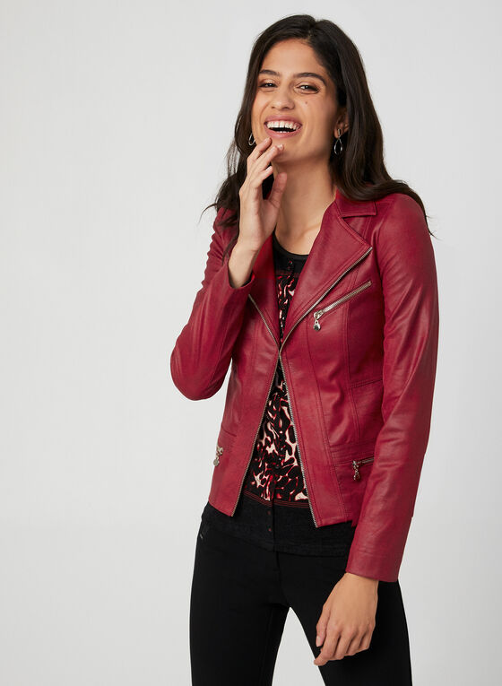 Vex – Faux Suede Moto Jacket, Red, hi-res