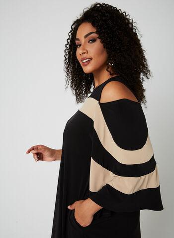 Nina Leonard - Robe à épaules ajourées et rayures, Noir, hi-res