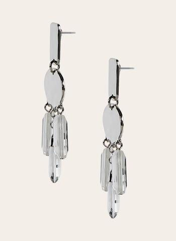 Boucles d'oreilles à pendants géométriques , Argent, hi-res