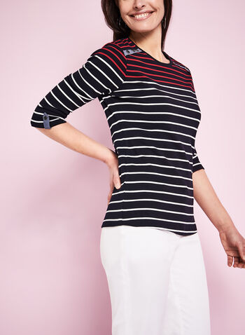 3/4 Sleeve Stripe Print T-Shirt, , hi-res