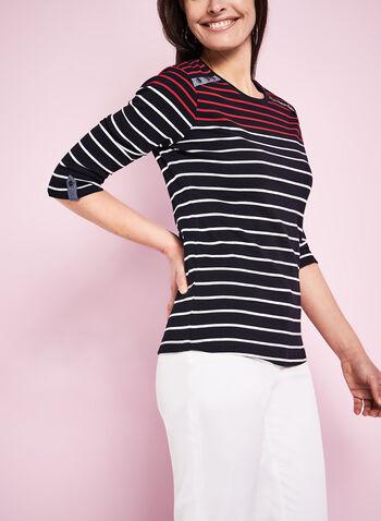 3/4 Sleeve Stripe Print T-Shirt, Blue, hi-res