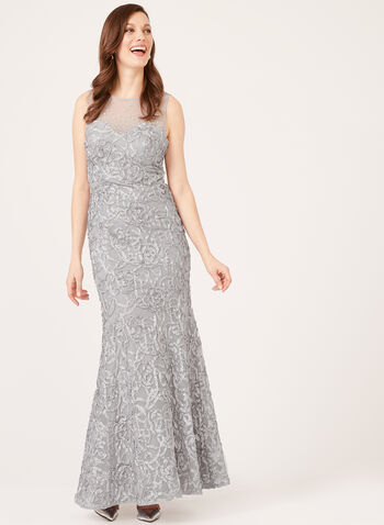 Illusion Neck Mermaid Gown, Silver, hi-res