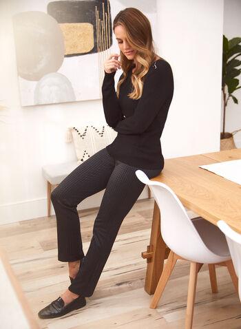 Pantalon à enfiler pied-de-poule, Noir,  pantalon, bas, à enfiler, pull-on, jambe droite, motif, imprimé, pied-de-poule, poches, taille élastique, extensible, automne 2021