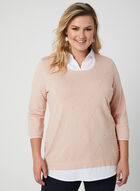Pull illusion en tricot diamant, Rose