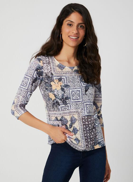 Patchwork Print ¾ Sleeve T-Shirt, Blue