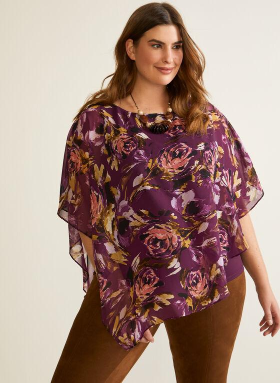 Floral Print Asymmetric Blouse, Purple