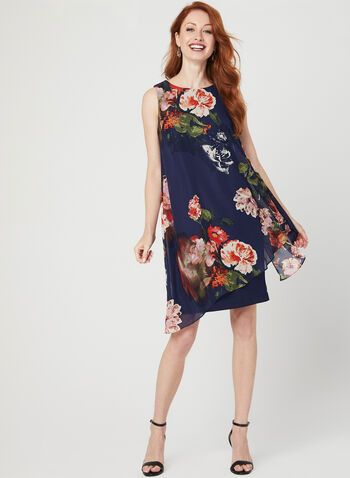 Floral Print Asymmetric Dress, Blue, hi-res