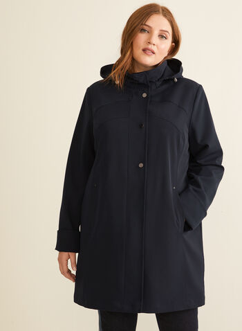 Hooded Raincoat, Blue,  coat, raincoat, outerwear, hood, long sleeves, spring summer 2020