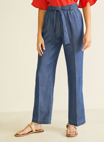 Denim-Style Tencel Pants, Blue,  pants, modern fit, pull-on, denim, tencel, pleats, belt, wide leg, spring summer